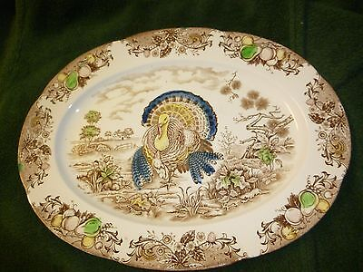 "Turkey Platter - Ceramic Transferware - Made in Japan - 18 1/2"" x 14"" - Vintage"