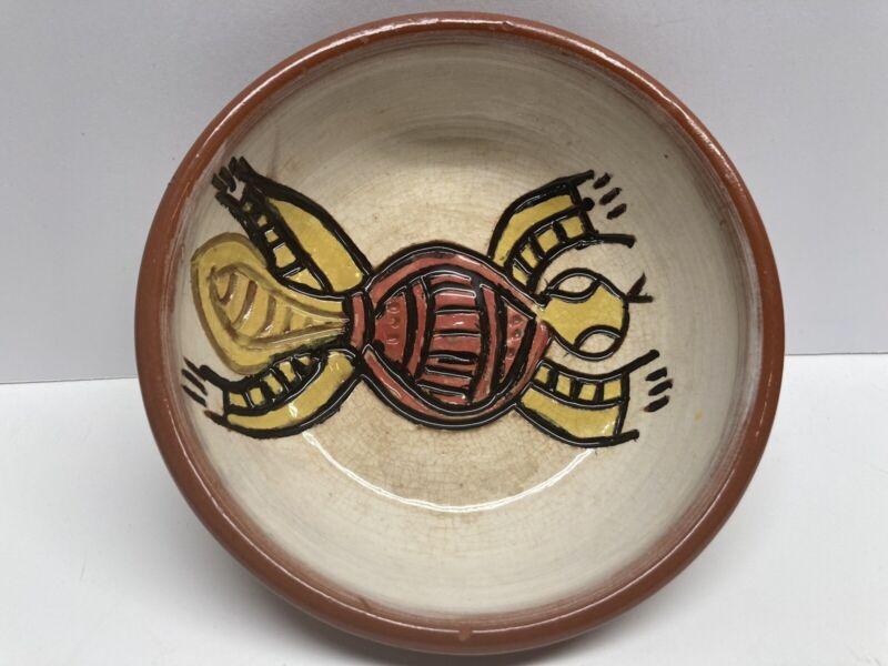 SIGNED ED DEEMERA YARRABAH AUSTRALIAN  POTTERY Bowl Dish ABORIGINAL Turtle RARE!