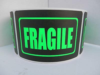 Fragile 2x3 Fluorescent Green Letters Black Bkgd Warning Sticker Label 250rl