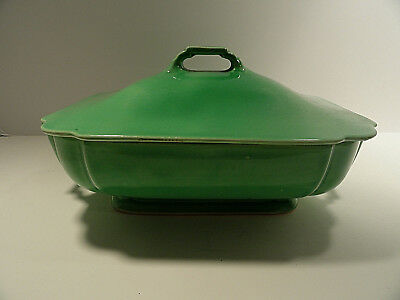 Vintage Riviera Homer Laughlin Green Casserole Dish with Lid