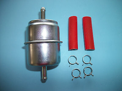 """Inline Fuel Filter 1/4"""" metal w/ hose-clamps for 33031 GF1 F"""