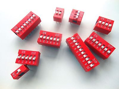 45 Pcs 1 2 3 4 5 6 7 8 10 Position Dip Switch Assorted Gold Electroplating Pins