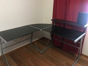 Black frosted glass metal desk Coomera Gold Coast North Preview