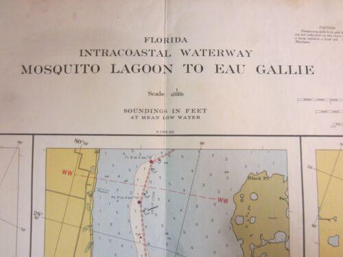 US Coast & Geodetic Survey Chart Intracoastal Waterway Florida Mosquito 1954