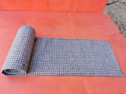 ANTIQUE OLD WHITE BLUE STRIPES HOMESPUN FABRIC ROLL ABOUT 3 YARDS