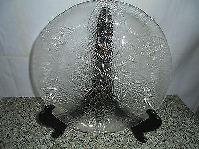 Tortenplatte Kuchenplatte Servierplatte Dekor Blätter aus Glas