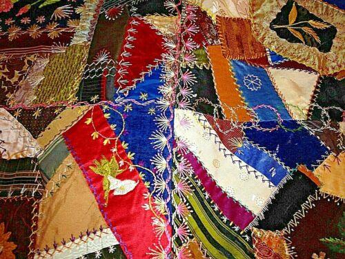Antique 1800s Victorian Crazy Quilt Top Heirloom American Folk Art