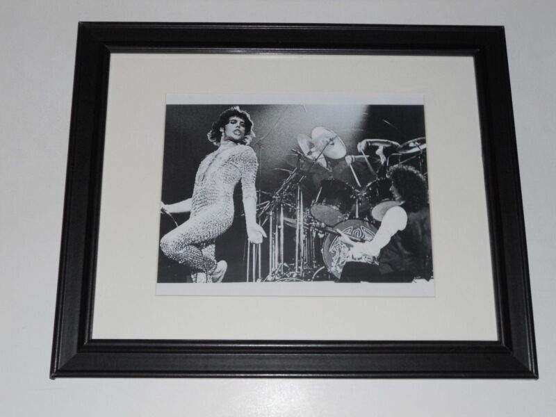 """Framed Queen Freddie Mercury / Brian May 1977 on Stage Poster 14"""" by 17"""""""