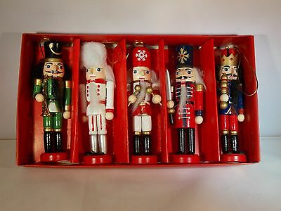 "10 x WOOD 5"" NUTCRACKER SOLDIER XMAS TREE DECORATIONS 2 of each 5 designs BOXED"