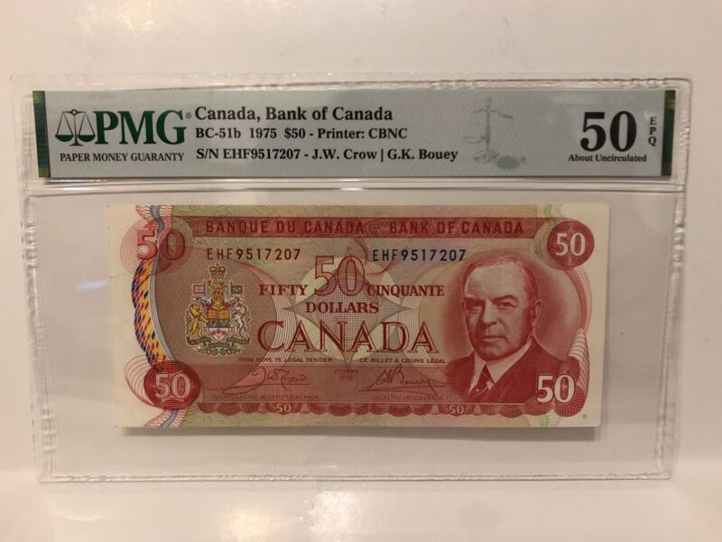 PMG Graded EPQ 50–1975 Canada $50 Fifty Dollar Banknote