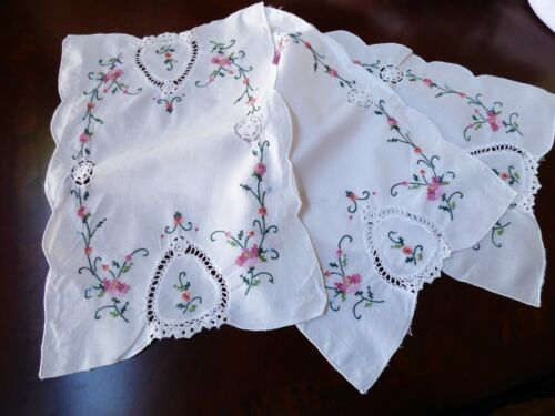 lot of 3 Cotton Hand cross stitch crochet Embroidery Placemats table runners