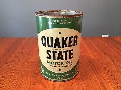 Original Early Quaker State 5 Quart Pennsylvania Seal Motor Oil Can for sale  Shipping to Canada