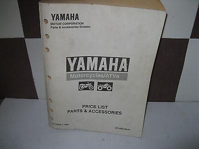 Yamaha Parts Dealer - YAMAHA FACTORY DEALER PARTS PRICE LIST 1999 EFF OCT 1, 1999