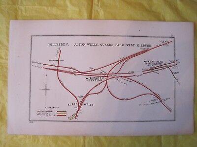 1928 RAILWAY CLEARING HOUSE Junc Diagram No.78 WILLESDEN JUNCTION/QUEENS PARK.