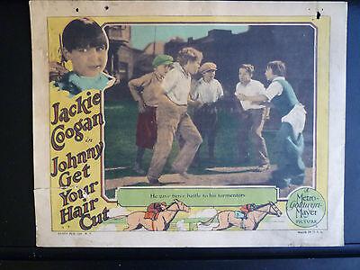 1927 JOHNNY GET YOUR HAIR CUT - LOBBY CARD - SILENT HORSERACING  - JACKIE COOGAN