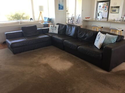 Leather Lounge suite, chocolate brown