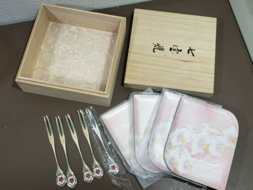 Set of 5 Sushi Plates & Forks Cloisonne Pink Floral Painted in Wooden Box EUC