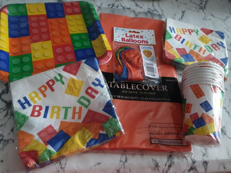 Block Lego Birthday Party Set Plates Latex Balloons Tableware Building Blocks