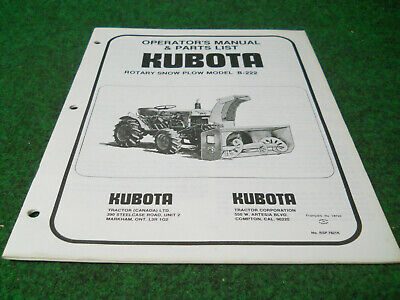 Kubota B222 Rotary Snow Plow Blower Owners Manual