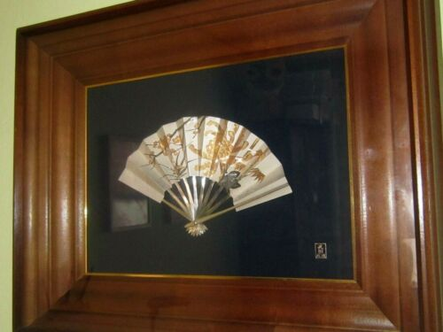 Picture Ohgi by Takehi Sterling Silver Japanese Fan hand engraved wit Gold inlay