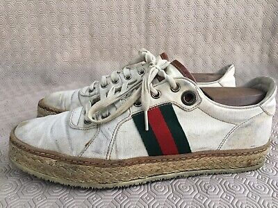 GUCCI white web striped Green red lace up sneakers Espadrille shoes size US 8 UK