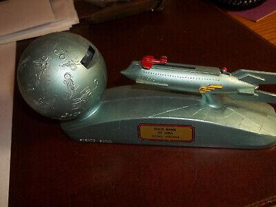 Strato Bank spaceship coin bank, Estate Find, working, NO KEY, NR!