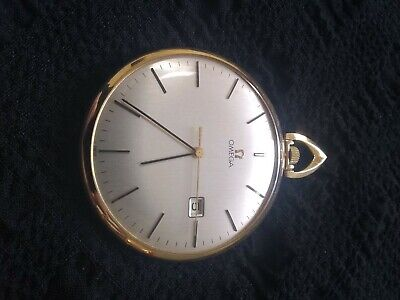 Vintage Omega Automatic 14K Gold Pocket Watch With Date