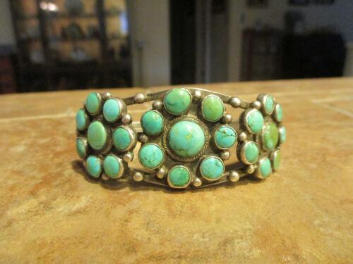 STUNNING OLD PAWN Zuni / Navajo Sterling PREMIUM Turquoise CLUSTER Bracelet