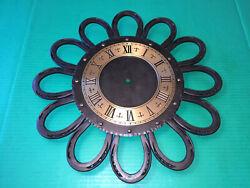 HEAVY 12 Real HORSESHOES Wall Clock Black Wrought Iron Frame & Face RANCH DECOR