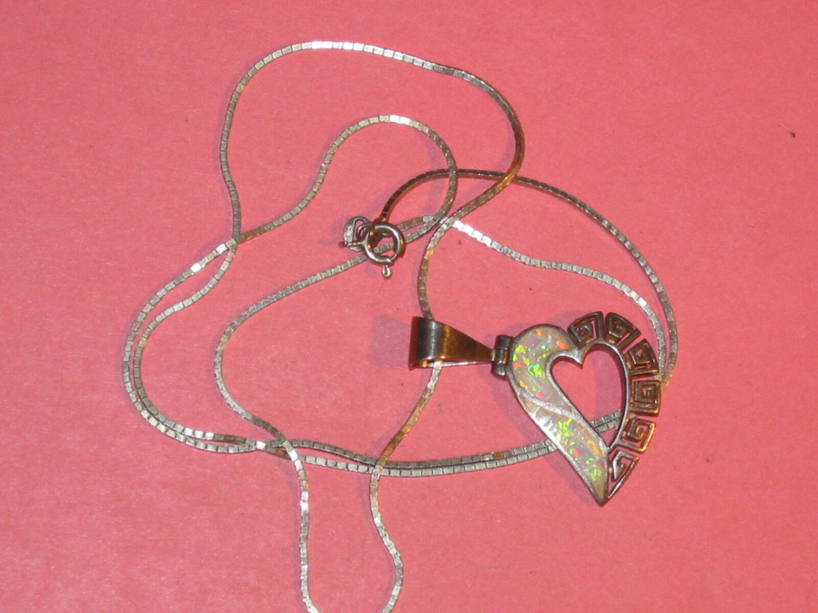 Opal Sterling Heart Pendant Vintage Hand Made 24 Square Link Chain TA - $33.11
