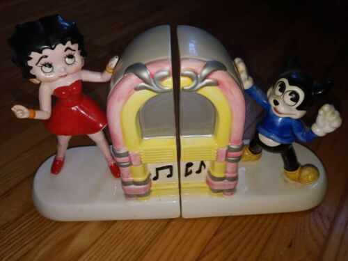 Betty Boop-BOOK ENDS-1981 KFS-Ceramic-Used for Display-Collectible