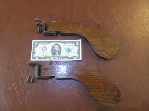 Pair Of  Oak Knee Paddles With Mounting Hardware Beckwith Organ Co. 1904 Salvage