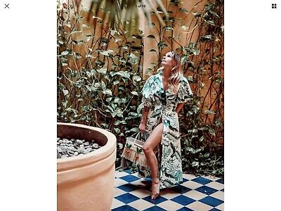 hm H&M johanna ortiz Tropical Palm Leaf Print Dress Green Size 14