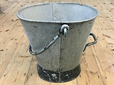 Large Vintage Galvanised Coal/Log/Fire Bucket / Planter Lovely Patina 43cm Tall