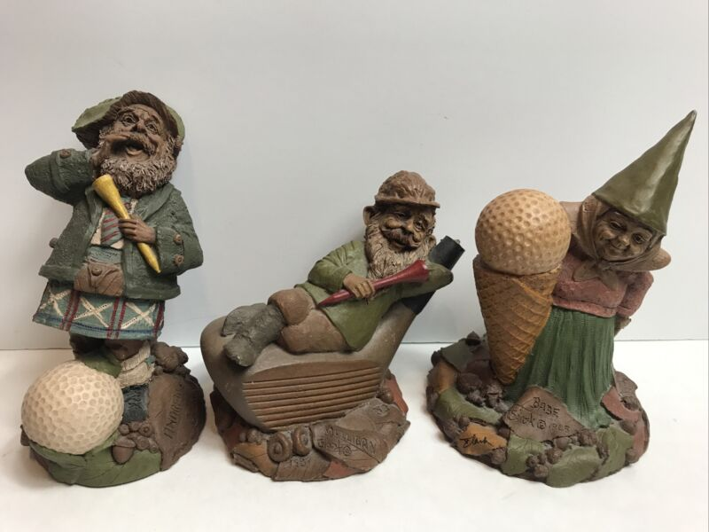 Vintage Lot of 3 Tom Clark Golf Theme Gnomes Signed Figurines
