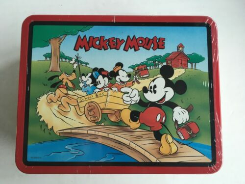 1997 Mickey Mouse Vintage Metal Lunch Box Disney Series #2 School Bus Wagon. NEW