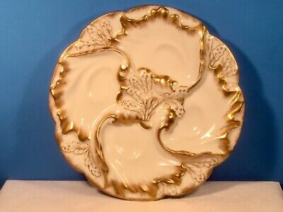 Oyster Plate Stunning Antique Lady's Oyster Plate Limoges White & Gold  c1891 White Oyster Plate