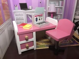 Barbie dollhouse,  1/6 Computer desk and chair