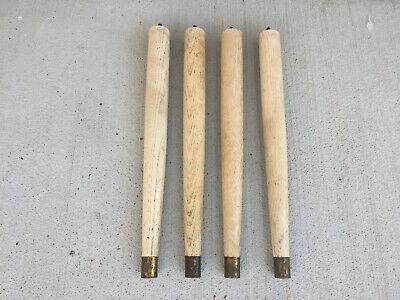 """Vintage Set Of 4 Mid Century Modern Tapered Wood Brass  Feet Table Legs 14"""""""