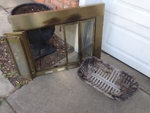 Fireplace glass door front and log rack