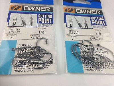 (2 Packs) Owner 5106-111 Flyliner Live Bait Hook with Cutting Point, Size 1/0