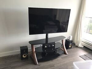 Oak and Tinted Glass Media Unit w/ TV Mount