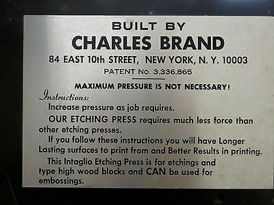 """Etching Press built by Charles Brand, 22"""" X 44"""" press bed"""