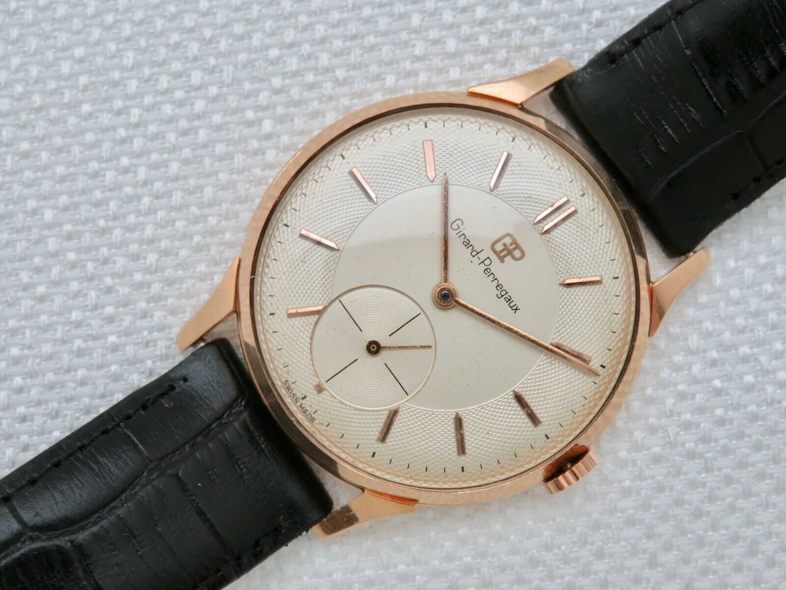 Mens Vintage Girard Perregaux 18K Solid Rose Gold 37mm Manual Wind Wristwatch - watch picture 1