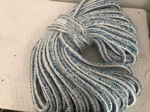 """12 carrier 24 strand Polyester 3/4""""x200 feet arborist white/blue tree bull rope"""
