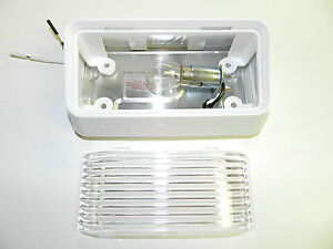 12 volt RV Porch Light rectangle clear lens camper RV trailer white exterior