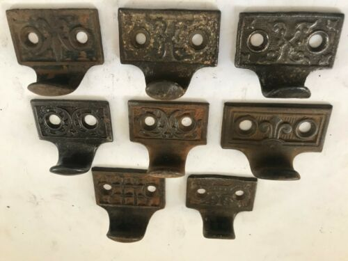 8 ANTIQUE SHABBY CAST IRON ART CRAFT EASTLAKE VICTORIAN WINDOW SASH LIFT PULLS