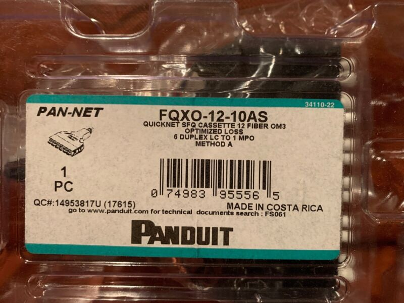 MAKE OFFER  Panduit FQXO-12-10 QuickNet SFQ SeriesMTP Fiber Optic Cassette NIB