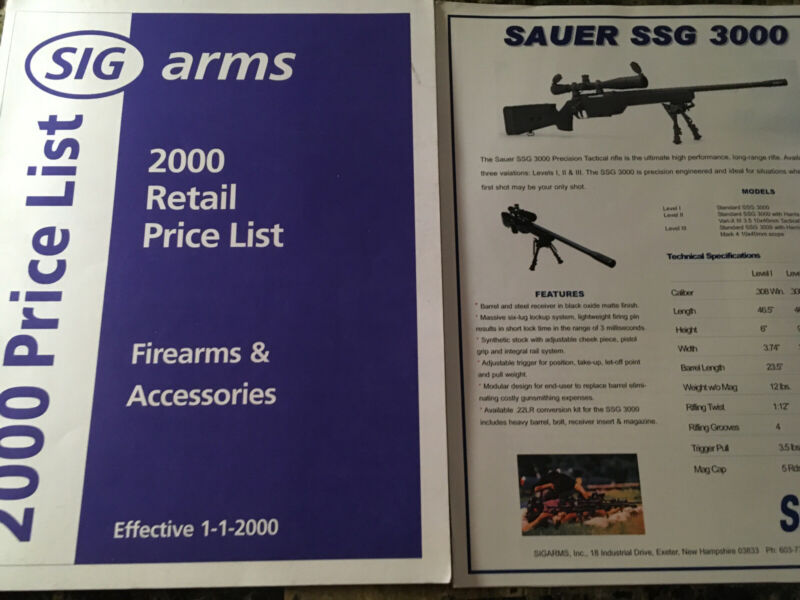 2000 SIGARMS Retail Price List And Flyers