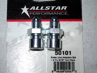 AllStar Steel Brake Line Adapter 4 AN To 316 Inverted Flare 2pk ALL50101